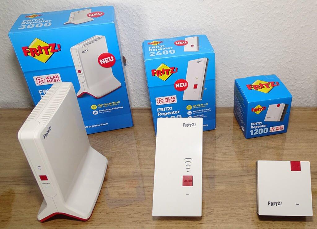 W-LAN Repeater 1200, 2400 und 3000 von AVM im Vergleich